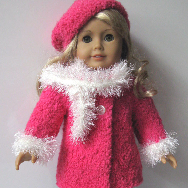 Knitting Pattern For Dolls Beanie : Coral Dream Coat, Scarf, and Beanie Hat, 18