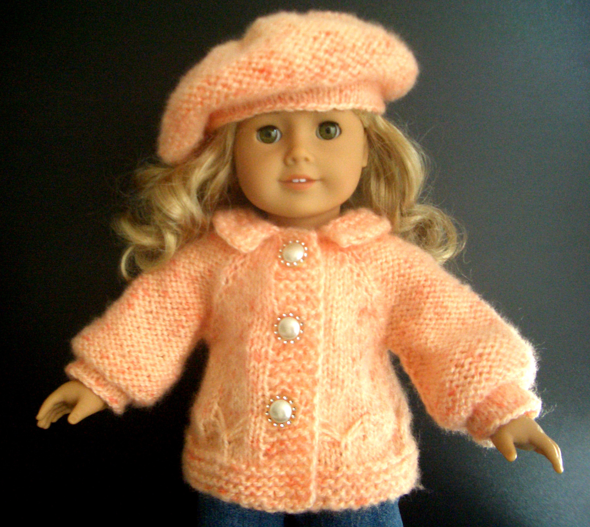 Peachy Butterflies Sweater Set Knitting Pattern (033) - Knit N Play